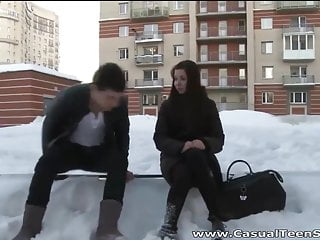Bukkake snowballing Teens play snowballs and fuck