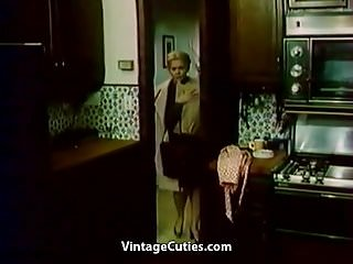 Retro vintage kitchen - Deep fuck at the kitchen 1970s vintage