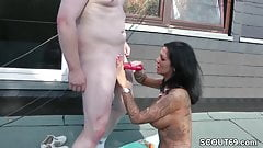 German Teen with Tattoo and Big Tit caught and Seduce Fuck