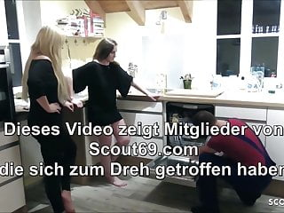 Blowjob homework - Two german teens seduce the homeworker to ffm threesome