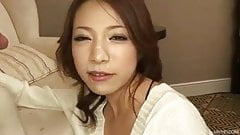 Hot jizz splatters all over Kanako face and down her chin