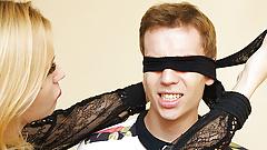 Mom teaches blindfolded stepson anal fetish
