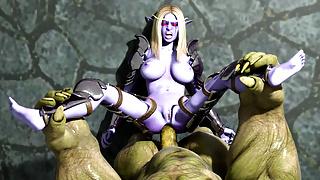 Brutal Goblin fucks imprisoned Elf Princess's ass. 3D Hentai