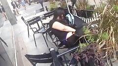 caught rub herself in puplic cafe