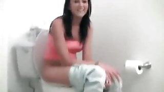 Brunette bathroom farts