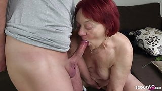 HAIRY REDHEAD GRANDMA SEDUCE TO FUCK BY YOUNGER GUY