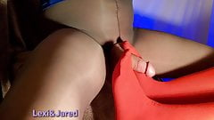 Wife in Stockings gives Footjob to Pantyhose Wearing Husband