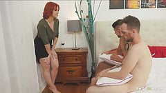 Redhead supervisor fucks both gay guys