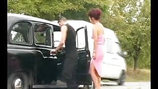 SEXY STEP MOM 62 redhead mature in a car with a young man