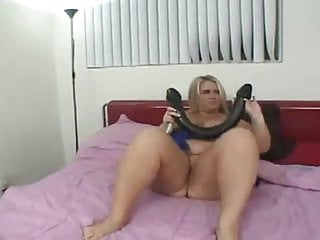 Big blonde boob mom Blonde mom with real big boobs plays with huge toy