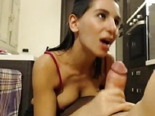 Jumping sucks dark athena Dark haired babe sucks cock at her home