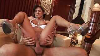 Elegant lady sitting on a cock and letting the other dude drill her mouth