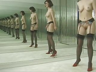 Pattycake mirror tits Slut in stockings strips before dressing room mirrors