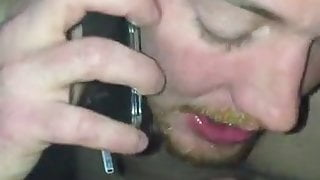 MARRIED GUY SUCKS COCK WHILE ON PHONE WITH WIFE