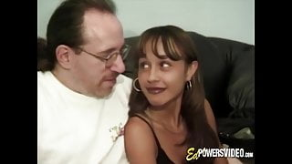 Young chick has both of her holes railed in retro video