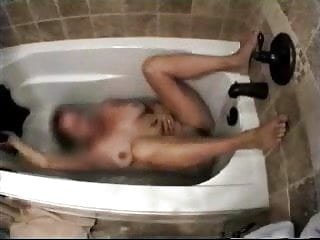 Mature european tube My horny mum having fun in bath tube. hidden cam