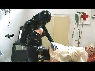 Rubber piss pants Heavy rubber strap-on fucking
