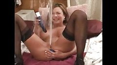 Hot milf huge squirt with dildo in ass