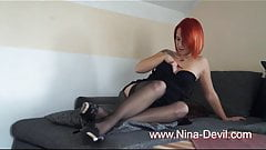Hot red hair teen strip tease