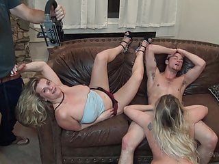 Swinger sex blog Blonde milfs sucking and fucking in foursome swinger orgy
