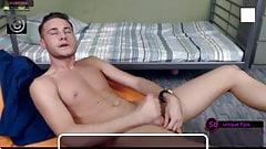 slim 20yo boy Justin shoots a big load and eats cum