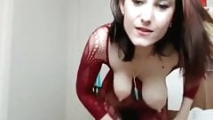 Camgirl with saggy tits and hairy pussy dancing