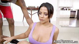 Latina babe Rose Monroe offers her huge ass to BBC stud