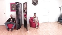 Shy Catalan beauty lets looses with a stud