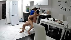 amateur couple in the kitchen