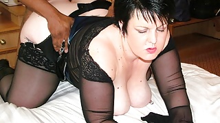 Busty Housewife Double Dee takes black cock and swallows