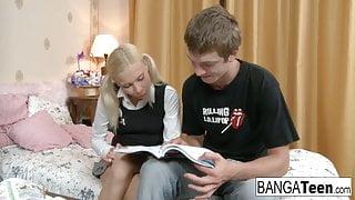 Blonde school girl needs extra help with her homework