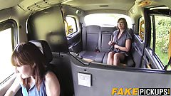 Gorgeous MILF strapon banged by her lesbo taxi driver