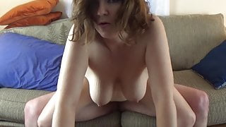 Dirty Talking Big Titty MILF with nice Bush Fucked on Couch