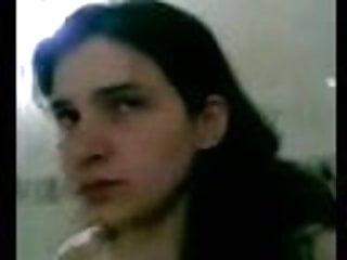 Lebanese teen girl Lebanese teen make a short video in bathroom
