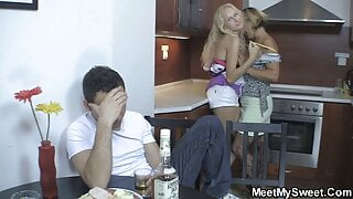 Horny old couple fuck son's blonde teen girlfriend
