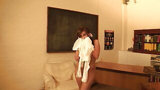 Naughty schoolgirl has hot theesome fuck in the living room
