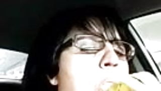 Marie a french adultery slut sucking banana in her car