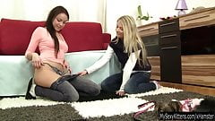 Chesty lesbian teens Lara and Mia fingering twats