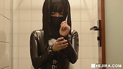 fejira com Leather girl selfbondage and masturbating orgasm