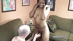 Black MILF Kelly Stylz is giving a blowjob to a white guy