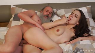 Tricky Old Teacher - Old teacher with her beautiful Milana