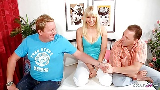 German Cuckold Threesome Sex with old Guy and Hot Teen Wife
