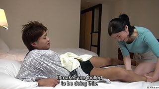 Japanese hotel massage – mature busty masseuse gives handjob