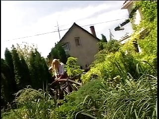 Blonde skirt ass - Blondie in short skirt blows dude and gets fingered in the ass