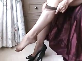 Lady old upskirt Fashionable hot lady and her glass fake penis toy