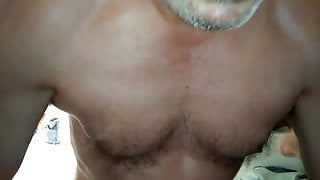 Hairy daddy with hot beard working on my hole