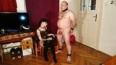 Sexy domina cbt & dick spanking fat slave pt2 HD