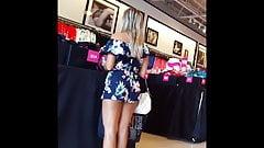 Candid voyeur hot MILF in romper shopping tight legs