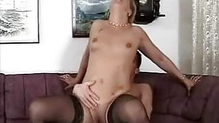 Little Breasted Granny in Lace Top Stockings Fucks