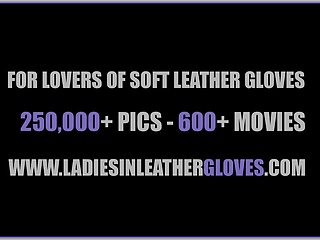Toughened leather gloves 29 shaman twink - Blonde rubs soft leather gloves against big tits wet pussy